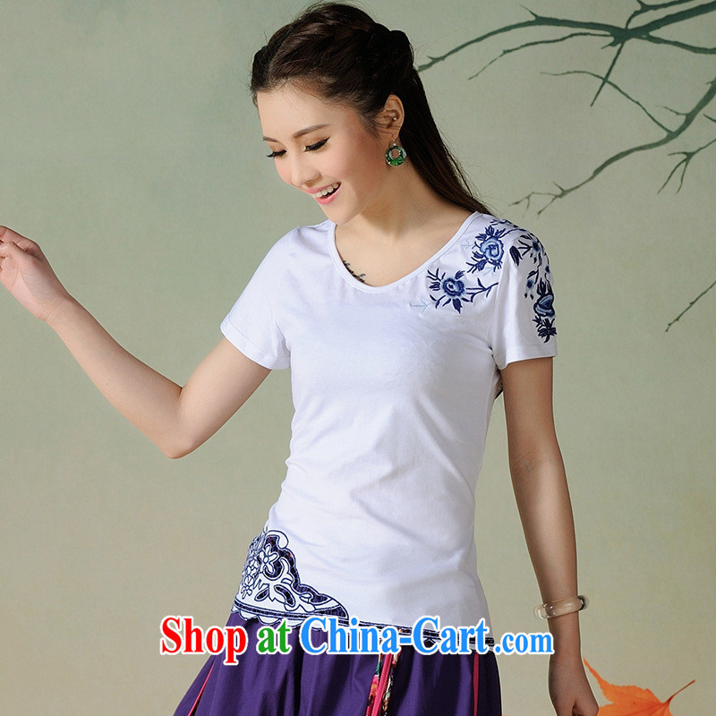 Health Concerns dress _ C 6903 National wind women's clothing spring and summer new round-collar embroidered Openwork lace 100 ground short-sleeved T white 2XL
