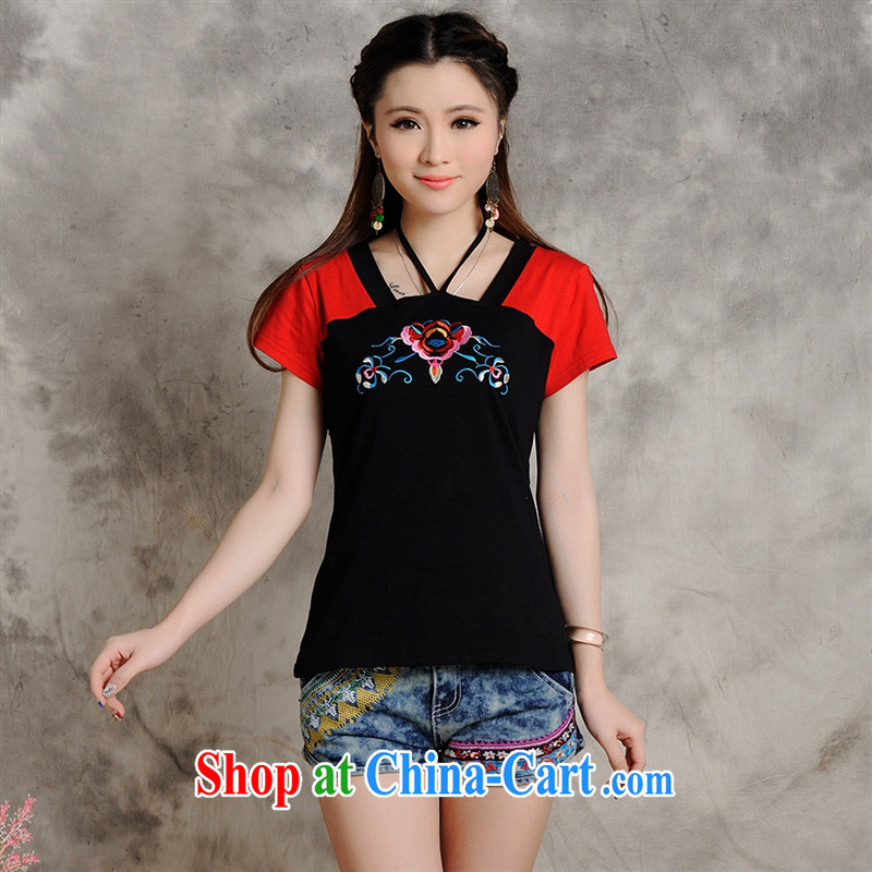 Health Concerns dress _ W 8210 National wind women's clothing spring and summer new Embroidery is also Graphics thin large code short-sleeved T shirt black 2 XL