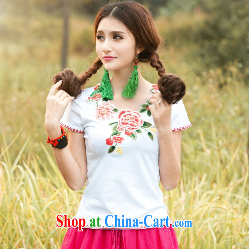 Health Concerns dress _ C 6887 National wind women's clothing spring and summer new V-petal collar three-dimensional embroidered short sleeves cotton shirt T deep blue 3 XL