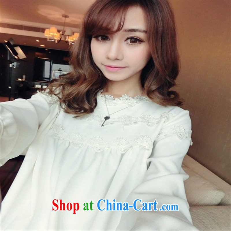 Health Concerns dress _ 405 _ model 2015 spring new pregnant women with pure cotton edge lace T-shirt maternity dress White - Pure Cotton lace XL