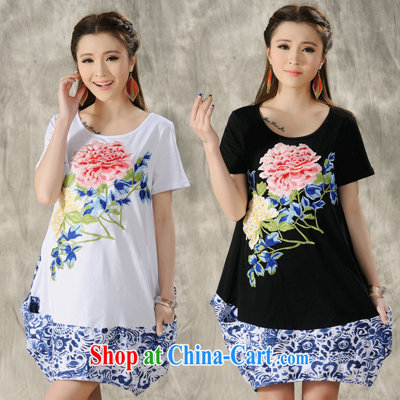 Health Concerns dress _ H 9493 National wind women's clothing spring and summer new embroidered loose long XL short sleeves shirt T white 2XL