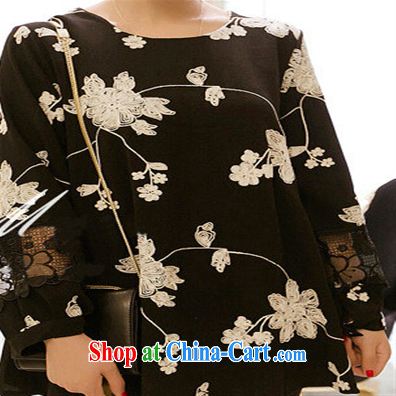 Health Concerns dress _ 8802 _2015 spring loaded pregnant women with lace stitching three-dimensional floral linen 9 cuff pregnant women dress linen black XXL