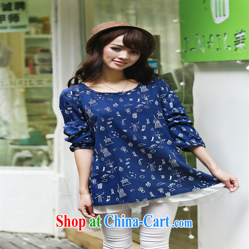 Health Concerns dress * 2015 spring new pregnant women with charisma pregnant women skirt pure cotton shirt lovely relaxed T-shirt 8632 Tibetan cyan XXL