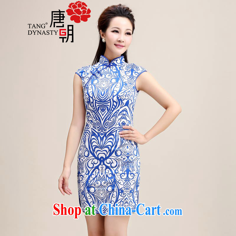 The Tang dynasty summer 2015 new retro cultivating a tight collar blue and white porcelain a sleeveless style dress cheongsam dress Blue on white shading XXL