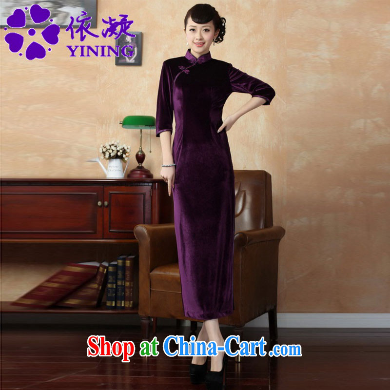 According to fuser new female retro improved Chinese Chinese qipao, for a tight retro-tie score of 7 beauty cuff cheongsam dress LGD_T 0001 _violet 3XL