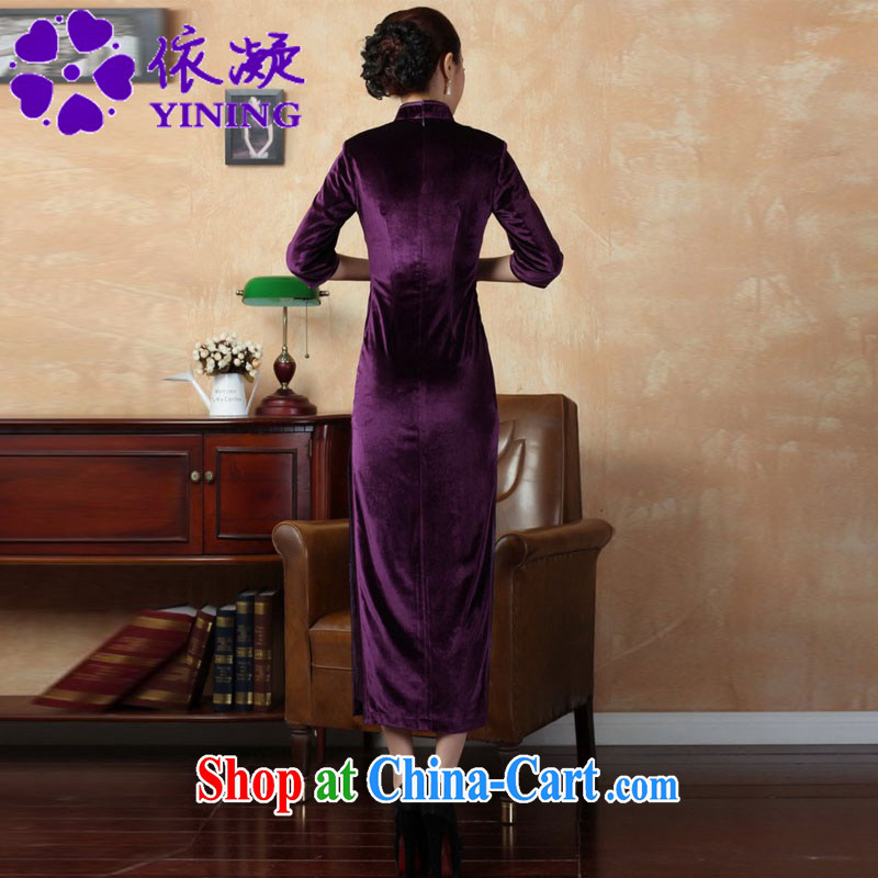 According to fuser new female retro improved Chinese Chinese qipao, for a tight retro-tie score of 7 beauty cuff cheongsam dress LGD/T 0001 #violet 3XL, according to fuser, shopping on the Internet