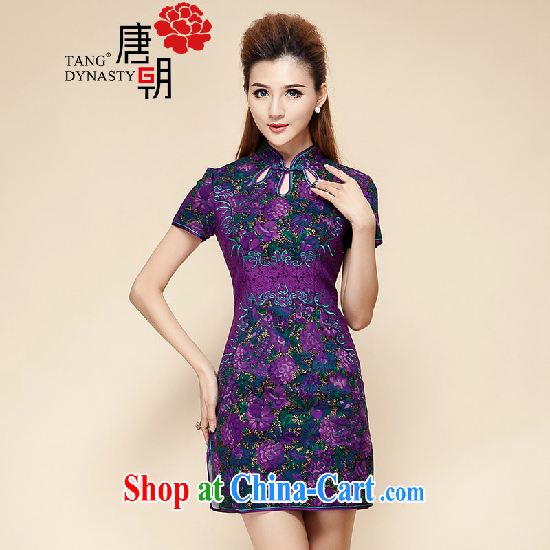 The Tang dynasty summer 2015 new elegance round ends stamp beauty graphics thin short-sleeved, qipao dress black, first and foremost the XXL