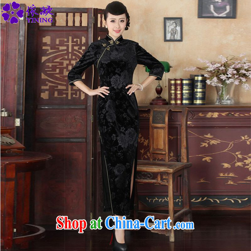 According to fuser new female Chinese improved daily Chinese qipao, for a tight and stylish beauty 7 cuff long cheongsam dress LGD_T 0002 _ -A black 3 XL