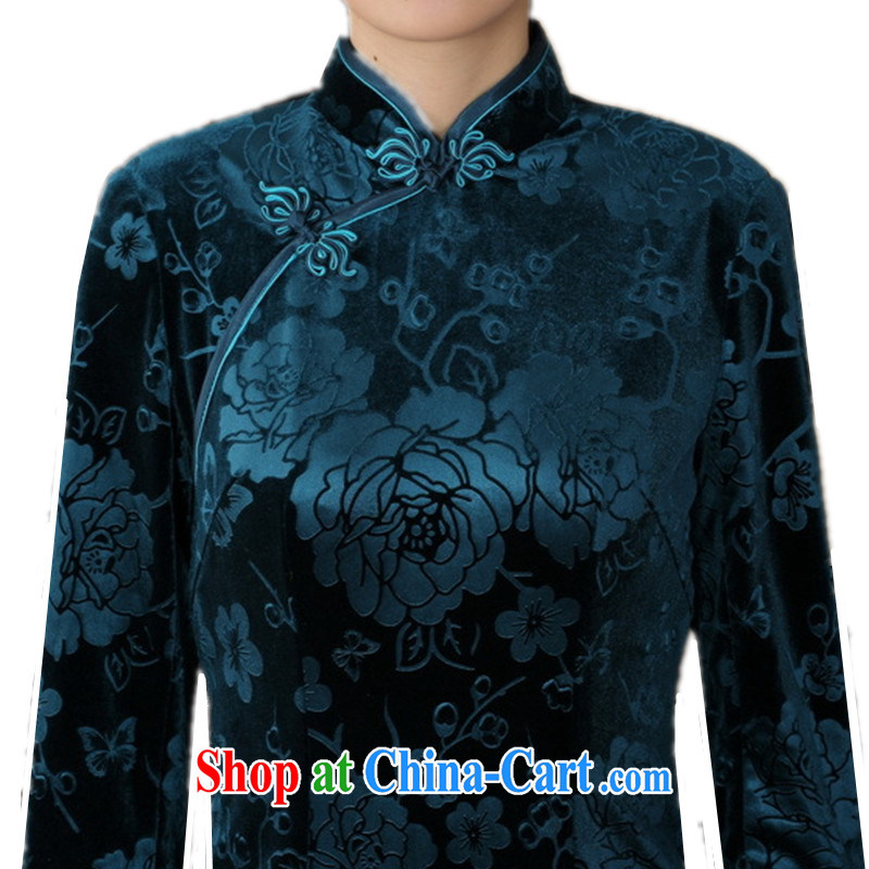According to fuser new female Chinese improved daily Chinese qipao, for a tight and stylish beauty 7 cuff long cheongsam dress LGD/T 0002 # -A black 3 XL, fuser, and shopping on the Internet