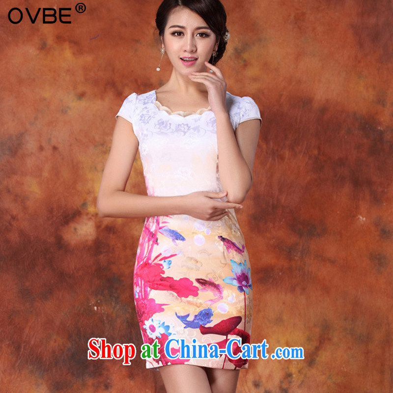 OVBE Korean version 2015 summer new cultivating classical charm lady paintings stamp lace Tang pack and cheongsam dress female Red, silk scarf XXL