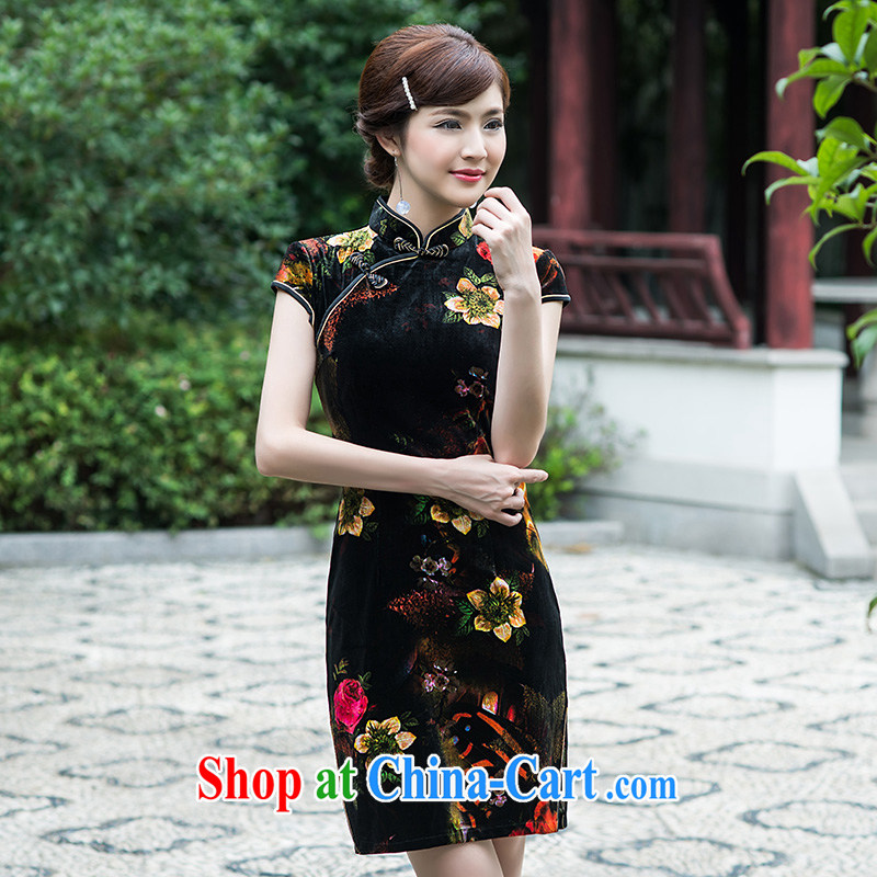 LACE dresses 2015 new, improved and stylish decorated in summer, Video thin Chinese female cheongsam dress, short, picture color XL