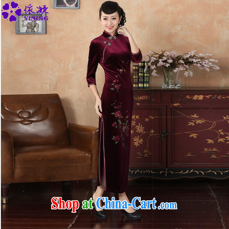 According to fuser new female retro improved Chinese Chinese qipao retro-tie Sau San 7 cuff cheongsam dress LGD_T 0003 _wine red 3 XL
