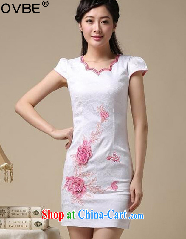OVBE Korean version 2015 summer New Beauty classic stamp style lady Tang pack and cheongsam dress female saffron, silk scarf L