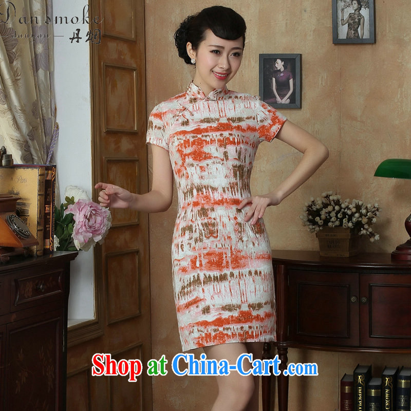 Dan smoke dresses summer new women with Chinese Chinese improved the collar retro elegant and stylish short-sleeve mini short dresses such as the color 2 XL