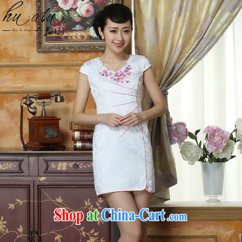 Take the Chinese clothing qipao summer New Tang Women's clothes improved round-collar day-old fashioned embroidery cheongsam dress white 2XL