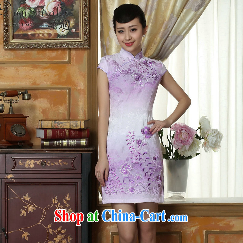 Bin Laden smoke-free light dresses summer dresses with new female Chinese improved, short, cotton cheongsam dress short Flag if the color 2 XL
