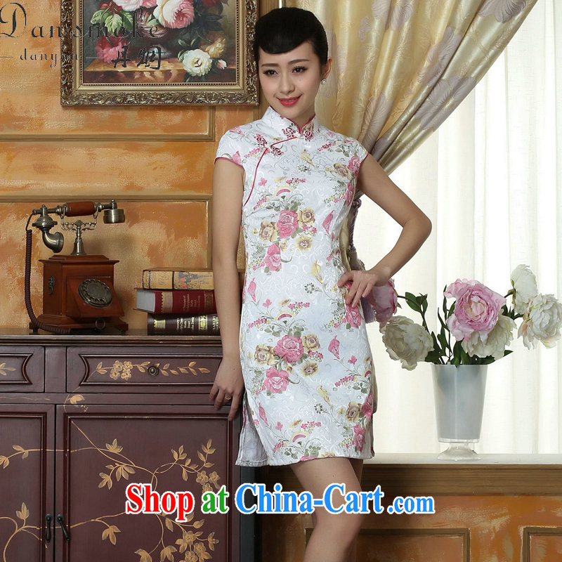 Bin Laden smoke dresses summer new, Tang Women's clothes Chinese improved, short, cotton cheongsam dress dress stamp duty as the color 2 XL
