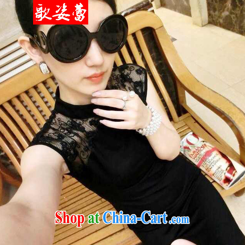 Song beauty buds 2015 new European and American-feminine 10 foot lace fluoroscopy the forklift truck cheongsam dress black are code