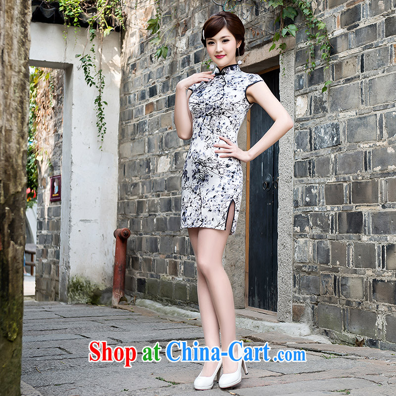 spring and summer, Retro girl cheongsam dress 2015 style improved cultivation daily cheongsam dress female Web yarn cheongsam picture color XL