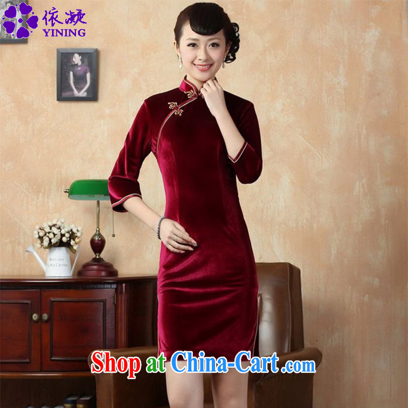 According to fuser new women with solid color-stretch the wool 7 cuff Chinese cheongsam dress LGD/TD 0005 #wine red 3 XL