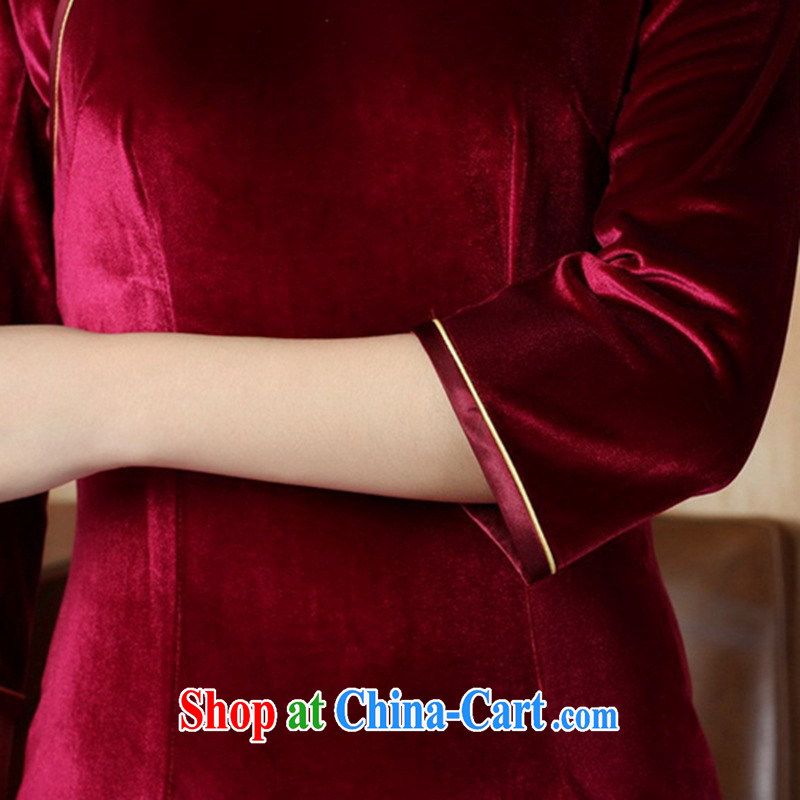 According to fuser new women with solid color-stretch the wool 7 cuff Chinese cheongsam dress LGD/TD 0005 #wine red 3 XL, according to fuser, shopping on the Internet