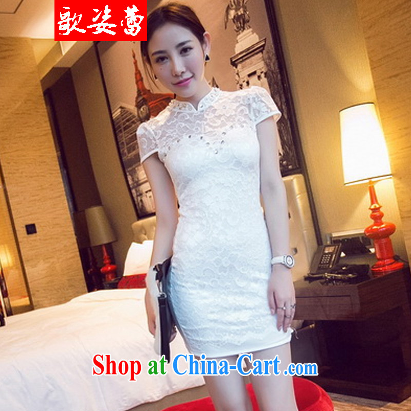 Song beauty buds 2015 new outfit staple-Pearl dresses beauty graphics thin white S