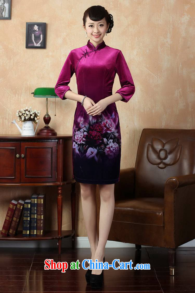 According to fuser new female Chinese qipao stretch gold velour painting stylish classic 7 short sleeves cheongsam dress LGD/TD #0006 figure 2 XL pictures, price, brand platters! Elections are good character, the national distribution, so why buy now enjoy more preferential! Health