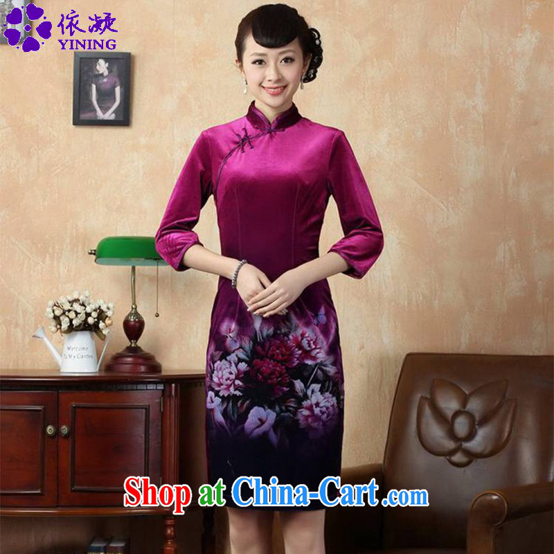 In accordance with fuser new female Chinese qipao stretch gold velour painting stylish classic 7 short sleeves cheongsam dress LGD_TD _0006 figure 2 XL