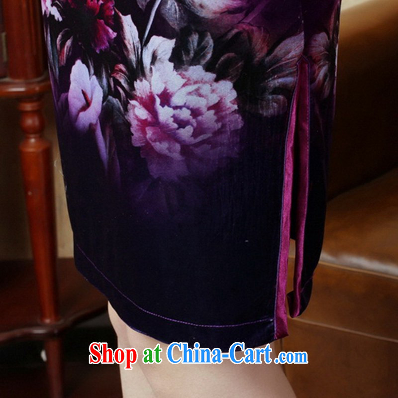 According to fuser new female Chinese qipao stretch gold velour painting stylish classic 7 short sleeves cheongsam dress LGD/TD 0006 #as figure 2 XL, fuser, and Internet shopping
