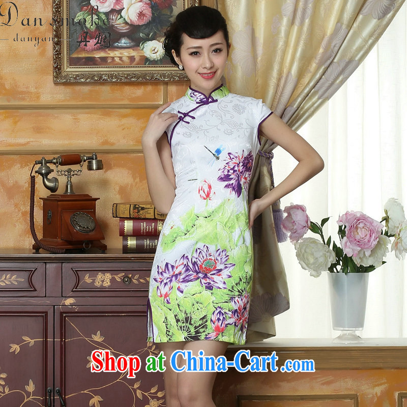 Bin Laden smoke new, digital flower jacquard cotton cheongsam dress, Chinese collar retro improved stylish summer short cheongsam as color 2XL