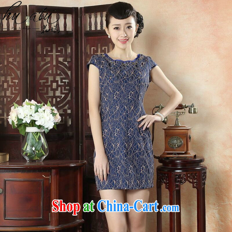 spend the summer stylish women's clothing dresses daily retro style beauty short cheongsam dress elegant ladies lace dresses such as the color 2 XL