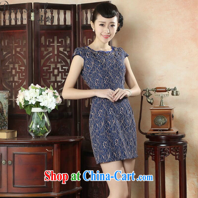 Dan smoke summer stylish women's clothing dresses daily retro style beauty short cheongsam dress elegant ladies lace dresses such as the color 2 XL