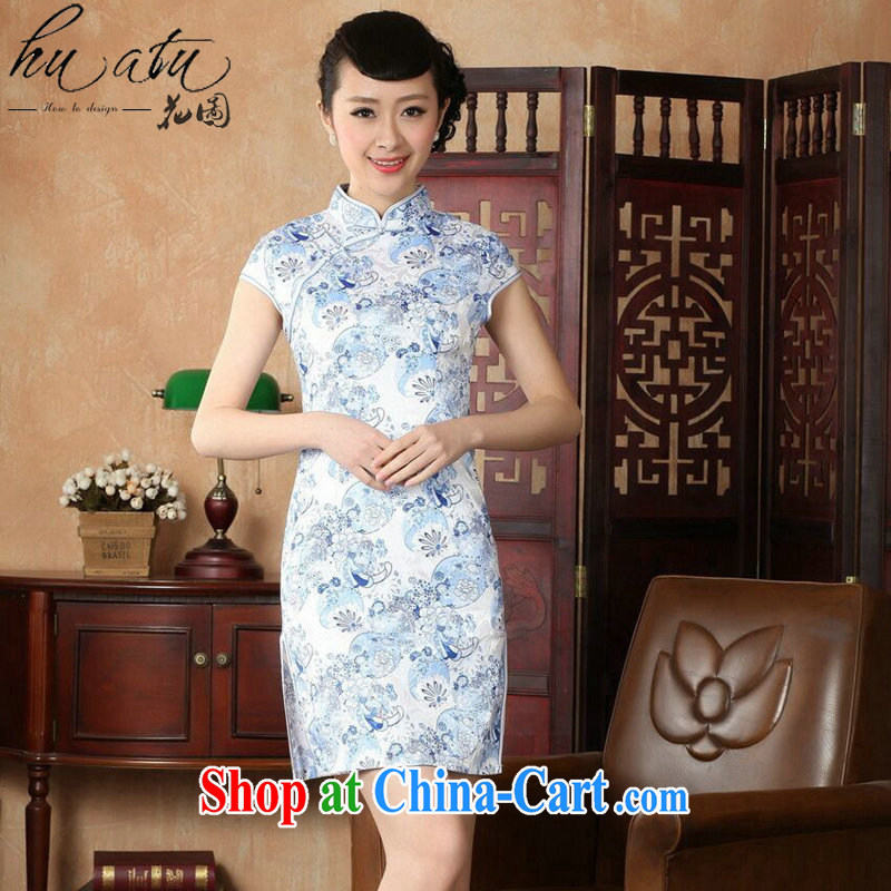 Take the dresses summer New Tang Women's clothes Chinese improved, full cotton pastel retro short cheongsam dress such as the color 2 XL