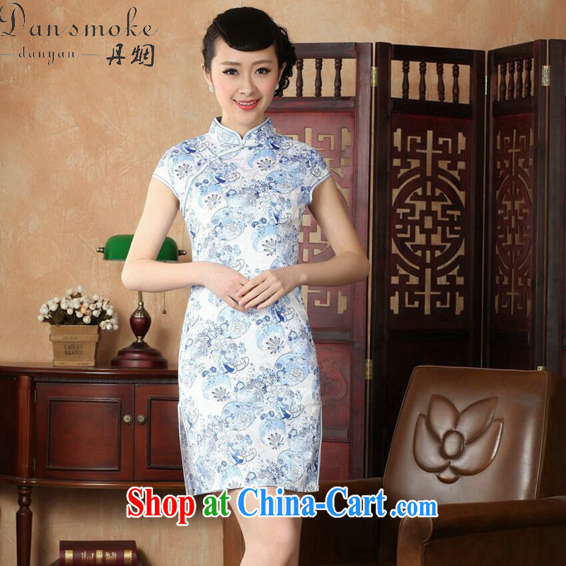 Bin Laden smoke dresses summer new, Tang Women's clothes Chinese improved, full cotton pastel retro short cheongsam dress such as the color 2 XL