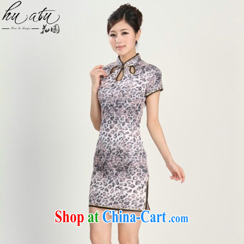 spend the summer with new female short-sleeved Chinese qipao improved, for national service traditional clothing Chinese performances with the map color S