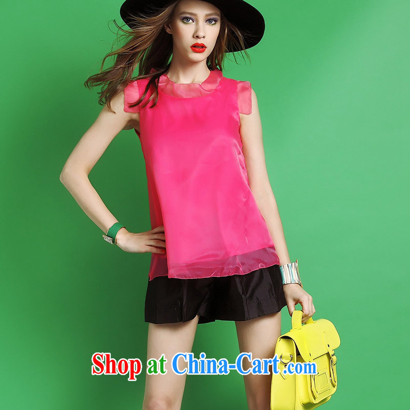 Black butterfly store 2015 summer new female fashion 100 ground candy colored European root yarn T-shirt 50,112 white XL