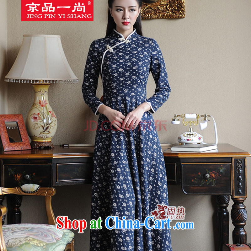 Beijing, a 2014 fall/winter new long-sleeved qipao Chinese wind-tie cultivating long dress dark blue M