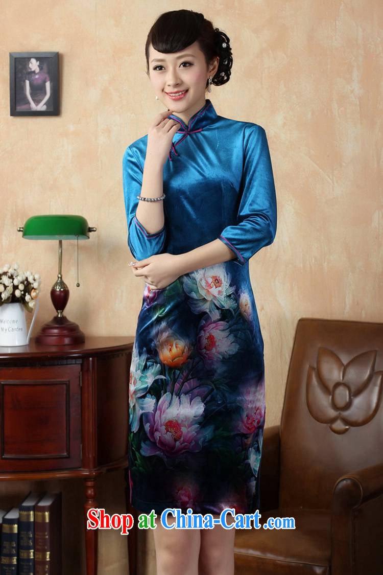 According to fuser new female retro improved Chinese qipao stretch gold velour painting stylish classic 7 short sleeves cheongsam dress LGD/TD #0008 figure 2 XL pictures, price, brand platters! Elections are good character, the national distribution, so why buy now enjoy more preferential! Health
