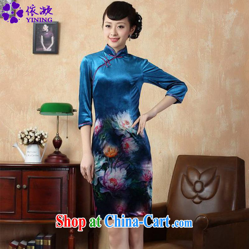 According to fuser new female retro improved Chinese qipao stretch gold velour painting stylish classic 7 short sleeves cheongsam dress LGD/TD #0008 figure 2 XL