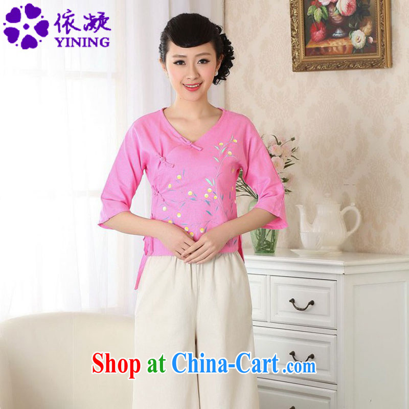 According to fuser new female Ethnic Wind retro improved Chinese qipao is a tight hand-painted cotton Ma shirt Tang Replace T-shirt LGD/A #0053 figure 2 XL
