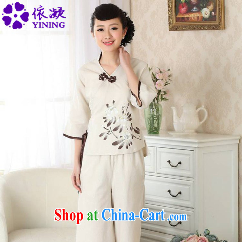 According to fuser new female Chinese National wind improved Chinese qipao retro-tie linen Chinese T-shirt LGD/A #0054 figure 2 XL