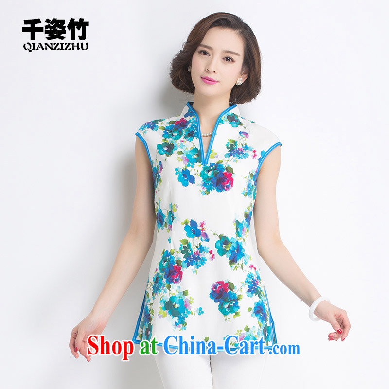 1000 colorful bamboo 2015 summer New Name-yuan Chinese wind short-sleeved dresses retro style to the silk shirt woman Blue on white flower XL