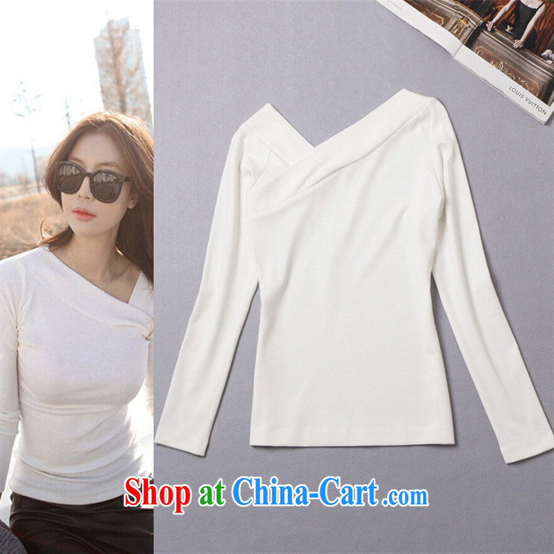 hamilton 2015 spring and summer new Korean foreign women who need long-sleeved shame the solid T-shirt W A 326 41 black L