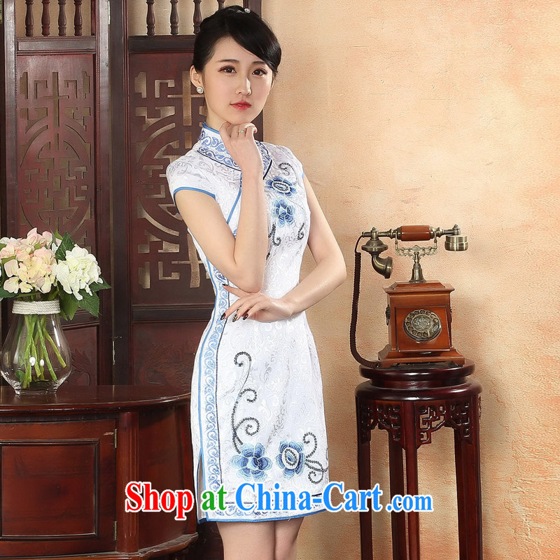 Oriental elite 2015 spring and summer new ethnic wind cheongsam embroidery hook take retro short cheongsam improved daily dress 324,101 white L