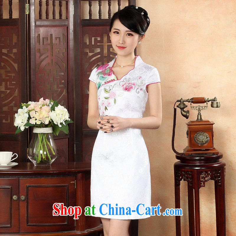 Oriental elite 2015 spring and summer new cheongsam dress embroidery ethnic wind short cheongsam elegant beauty daily improved dresses 324,108 white XL