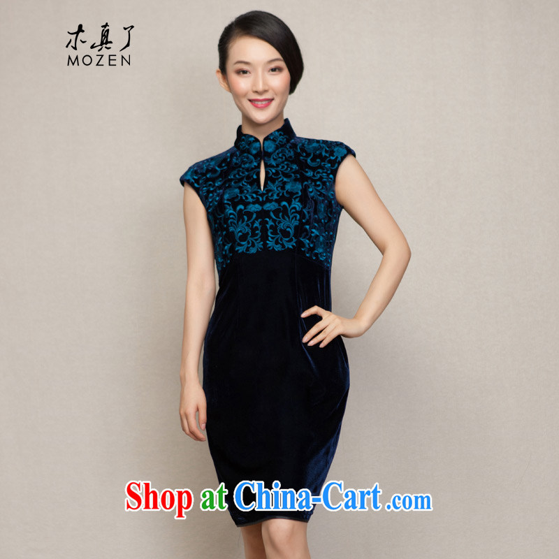 Wood is really the women spring 2015 new Chinese Embroidery beauty velvet cheongsam dress with her mother dresses 43,000 10 dark blue XXL B ( )