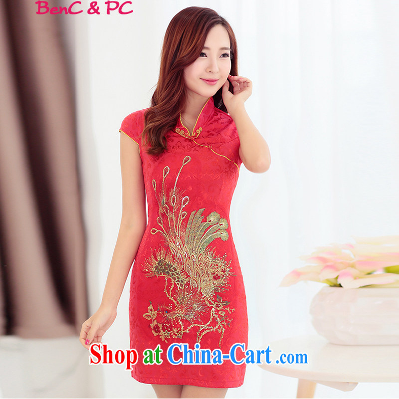 Yi, of land, 2015 women's clothing new XL Ethnic Wind Chinese Chinese Embroidery antique style beauty video thin package and cheongsam dress red L