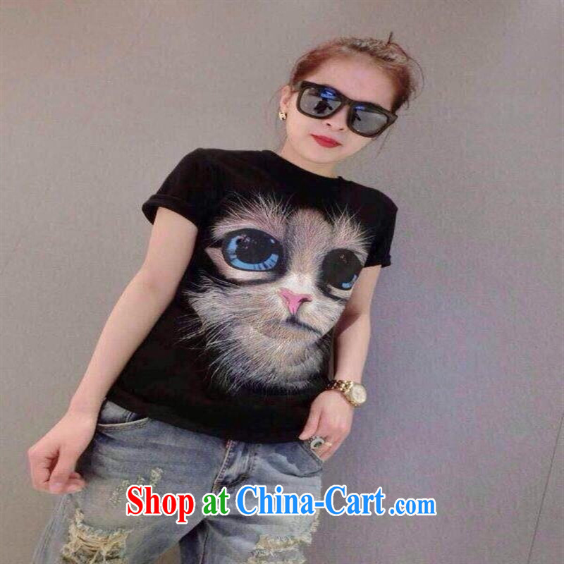 Ya-ting store European site summer 2015 new female personality kitten loose solid T pension female white are code