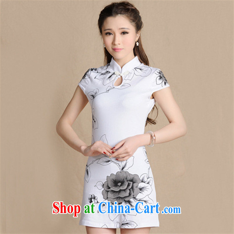 Ya-ting store spring 2015 New National wind women beauty with antique paintings qipao cotton female white 2 XL