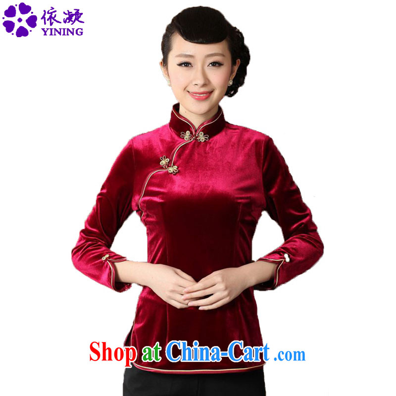 According to fuser new female Chinese clothing ethnic wind improved Tang 9 sub-cuff wool Chinese cheongsam shirt LGD/A 0064 #wine red 3 XL